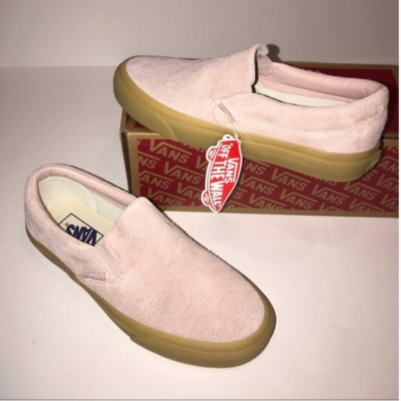 07ba6041349 NWT Vans Classic Slip-On (fuzzy suede) light pink